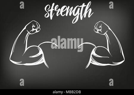 Arm, Bizeps, starke Hand Symbol cartoon kalligraphischen Symbol hand Vektor-illustration Skizze gezeichnet, mit Kreide auf einer Tafel gezeichnet - Stockfoto
