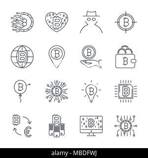 Der Vektor bitcoin Zeile für Symbole. Investitionen, Zahlungen und Exchange, Internet Banking, Portemonnaie, Bündel von Geld, Hand mit einer Münze, und mehr. Editierbare Anschlag - Stockfoto