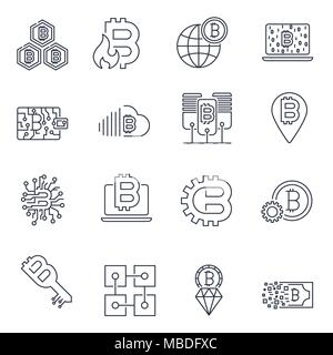 Blockchain, Bitcoin, Cryptocurrency Symbole gesetzt. Bitcoin und blockchain Technologie. Editierbare Anschlag - Stockfoto