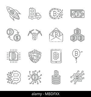 Satz von Thin Line Hub Vector Bitcoin und Cryptocurrency Symbole. - Stockfoto