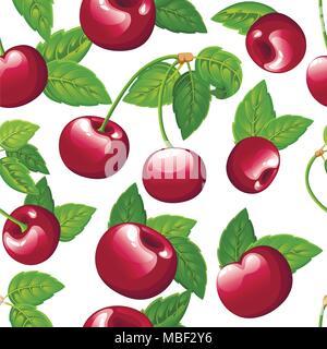 Nahtlose Muster von Cherry. Vector Abbildung: Kirsche mit grünen Blättern. Vector Illustration für dekorative Poster, Emblem Naturprodukt, Landwirt - Stockfoto