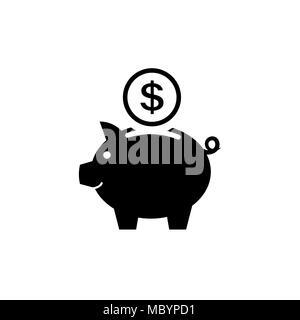 Piggy Bank Symbol. Piktogramm der kässeli Flat Style - Stockfoto