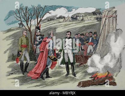Interview zwischen Napoleon und der österreichische Kaiser Franz II. nach der Schlacht von Austerlitz, 1805. Gravur, 19. - Stockfoto