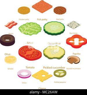 Scheibe essen Symbole gesetzt, isometrische Stil - Stockfoto