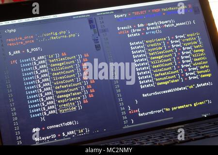 PHP-Code. Computer Quellcode. Abstrakte Bild der Web ...