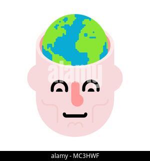 Die Erde im Kopf. Öffnen Sie Kopf und Planeten. - Stockfoto