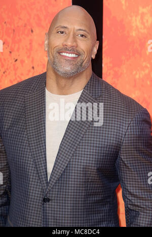 London, UK, 11. April 2018. Dwayne Johnson besucht die Rampage Film Premiere - Stockfoto