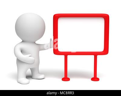 Weiß menschliche 3D-Charakter trägt ein Kleid mit einem rot eingerahmten Blank Board in einem weißen Szene (3D-Abbildung) - Stockfoto