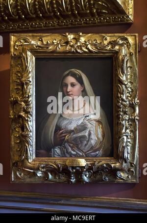 """Gemälde """"La donna velata"""" (1514-1515) von der italienischen Renaissance Maler Raphael auf Anzeige in der Galerie Palatina (Galleria Palatina) im Palazzo Pitti in Florenz, Toskana, Italien. - Stockfoto"""