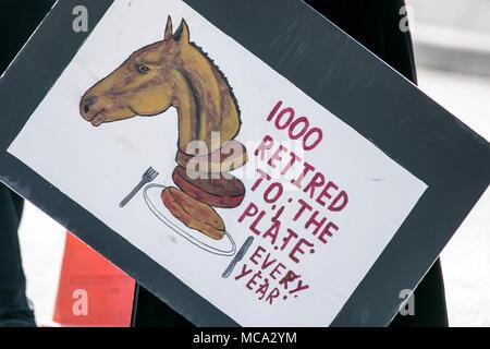 """Aintree, Liverpool, Merseyside. 14. April 2018. Aktivisten protestieren Pferderennen Todesfälle zu Racegoers auf der """"Grand National"""" als bis zu 90.000 Besucher werden erwartet, die spektakulären National Hunt Racing Veranstaltung zu besuchen. Credit: cernan Elias/Alamy leben Nachrichten - Stockfoto"""