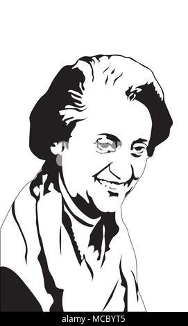 Indira Gandhi Indira Gandhi war ein Indischer Politiker und zentrale Figur des Indian National Congress Party - Stockfoto