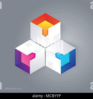 Abstrakten 3D cubic Infografik Vector Illustration für Web Graphic Design. - Stockfoto