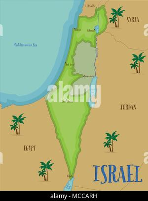 Karte von Israel im Comic-stil. - Stockfoto