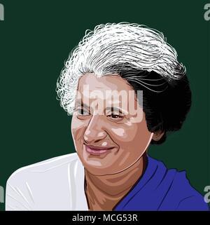 Indira Gandhi (1917-1984) Indischer Politiker und zentrale Figur des Indian National Congress Party. Der ehemalige Ministerpräsident des unabhängigen Indien. - Stockfoto