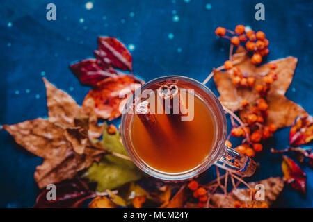 Zimt Kaffee flach mit Laub. Glas Tee Tasse auf einem nassen Holz- Hintergrund mit kopieren. Herbst noch Leben mit Kräutertee trinken. - Stockfoto