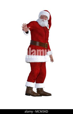 Weihnachtsmann im roten Anzug isoliert auf Weiss, 3D-Rendering. - Stockfoto