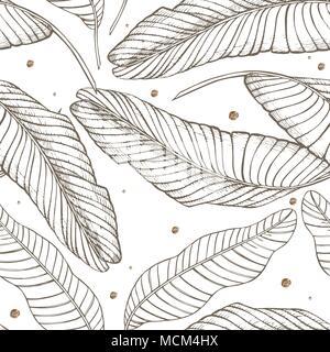 Dschungel Blätter nahtlose Vektor floralen Muster Hintergrund. Von tropischen Palmen Blätter Hintergrund. Vector Illustration in trendigen Stil. - Stockfoto