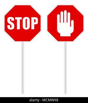 Stop-Schild Signal auf weißem Hintergrund - Stockfoto