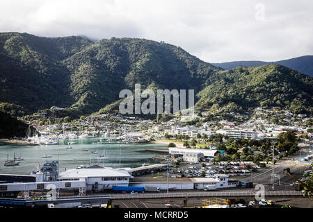 Picton, Tor zu den Marlborough Sound. South Island, Neuseeland. - Stockfoto