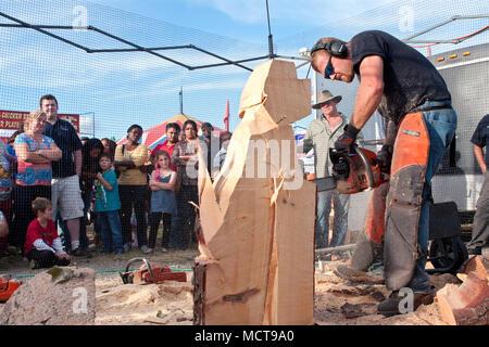 Eine Kettensäge Bildhauer beginnt Carving ein Hund Skulptur aus einem riesigen Klumpen von Holz, an der Georgia State Fair am 27. September 2014 in Hampton, GA. - Stockfoto