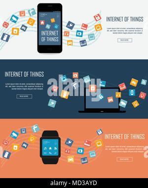 Smartwatch, Laptop, Smartphone mit dem Internet der Dinge (IoT) Symbole verbinden. Internet networking Konzept. Fernbedienung für smart