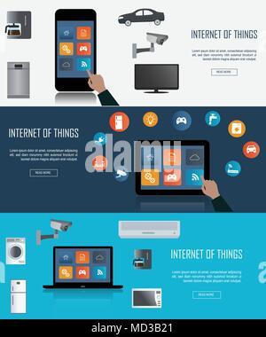 Tablet-PC, Laptop, Smartphone mit Internet der Dinge (IoT) Symbole verbinden. Internet networking Konzept. Fernbedienung für Smart hom
