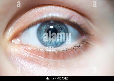 Nahaufnahme der Schönen blauen Frau Auge an Kamera - Stockfoto