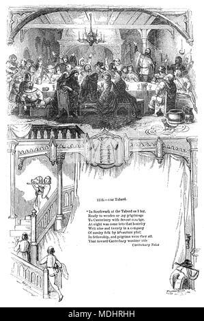 Abendessen im Waffenrock, einem historischen Gasthaus, auf der Ostseite der Borough High Street, Southwark stand. Die Herberge wurde im Jahr 1307 gegründet und an der alten Hauptstraße, die südlich von London stand. Es war der Ort, an dem die Pilger auf ihrem Weg nach Canterbury met in der 1380 s in Geoffrey Chaucer's Canterbury Tales. - Stockfoto