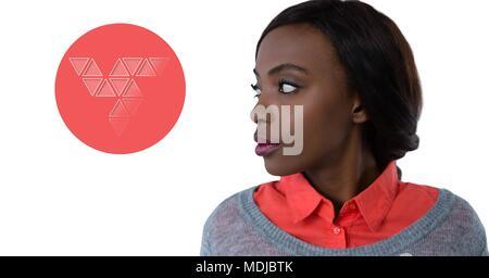 Frau suchen Bei Dreieck Formen im Kreis - Stockfoto