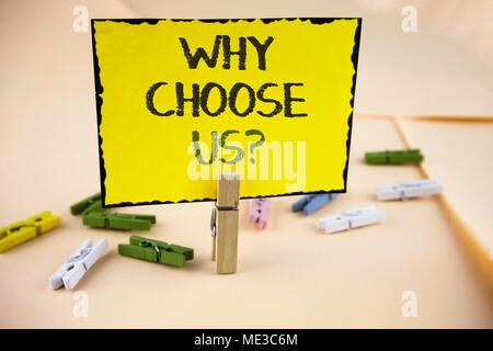 Schreiben Hinweis Zeigen Warum Uns Frage Auswählen Business Foto