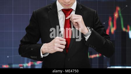 Double Exposure Geschäftsmann binden Krawatte und die Erhöhung der finanziellen Graph. Business Wachstum, Investitionen und Börse - Stockfoto