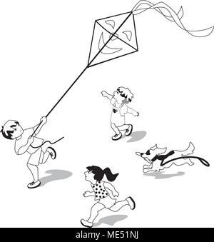 Vector Illustration von Kindern, einen Drachen zu fliegen. Zeichen gesetzt. - Stockfoto