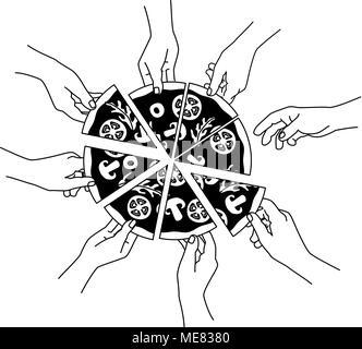 Vector Illustration von Menschen essen Pizza, Hände greifen Stück Pizza. - Stockfoto