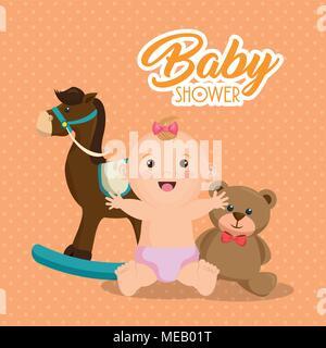 Baby Karte Dusche mit kleinen Mädchen Vector Illustration Design - Stockfoto