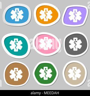 Medizin Symbole. Mehrfarbige Aufkleber aus Papier. Vector Illustration - Stockfoto