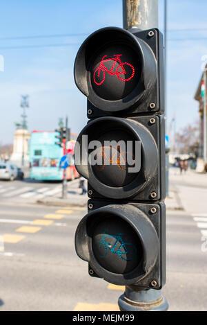 Ampel für ein Fahrrad in Europa - Stockfoto