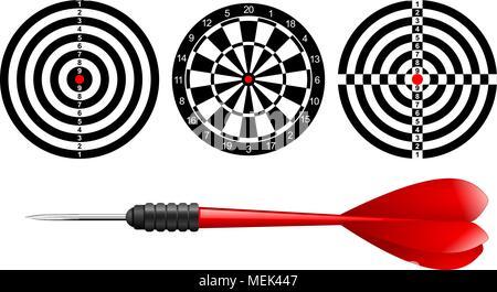 Klassische Dartscheibe Ziel gesetzt und Darts roten Pfeil auf weißem Hintergrund. Vector Illustration. Schwarze und weiße dartboard Druckvorlage - Stockfoto