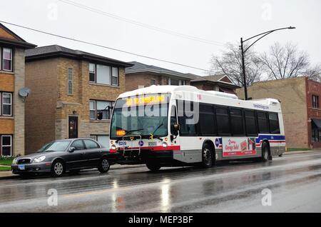 Chicago, Illinois, USA. Ein CTA-Bus auf Irving Park Road in Chicago. Die Stadt verfügt über ein umfangreiches bus rapid transit Routen.