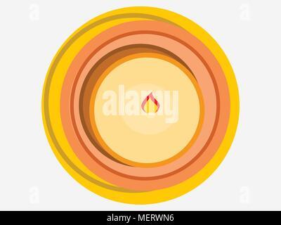 Kerze, Ansicht von oben, Wachs. Flat Style. Vector Illustration - Stockfoto
