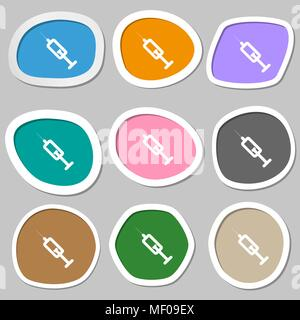 Spritze Symbol Symbole. Mehrfarbige Aufkleber aus Papier. Vector Illustration - Stockfoto