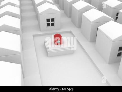 Kleine rote 3d-Haus, horizontal - Stockfoto