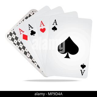 Poker Spielkarten mit Casino Spiele - Stockfoto