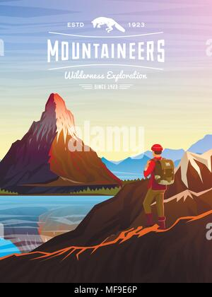 Berggipfel Karte oder Broschüre. Tourismus auf die Natur. Landschaft ...