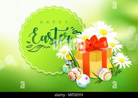 Ostern Karte mit Geschenkbox, Eier und Blumen - Stockfoto