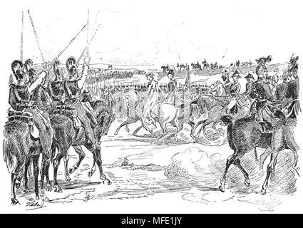 Krieg der vierten Koalition. Schlacht von Jena, 1806. Königin Louise von Preußen den Besuch der Truppen. Gravur, 19. - Stockfoto