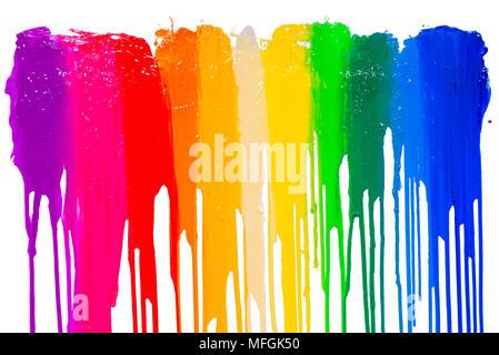 Regenbogen Farben Tropfen mit Freistellungspfad - Stockfoto
