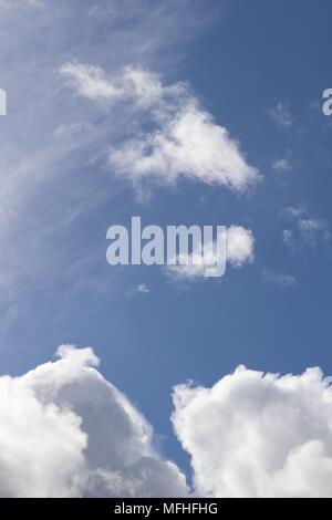 Nahaufnahme von flauschigen weissen Wolken vor blauem Himmel - Stockfoto