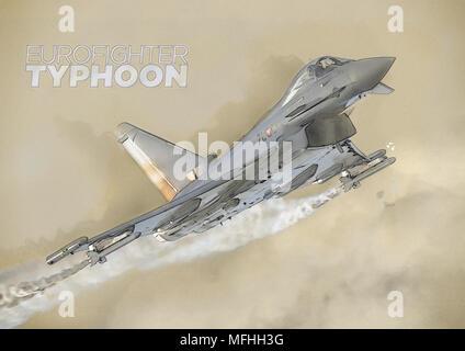 Österreichischen Eurofighter EF-2000 Typhoon, die für eine Anzeige Flug - Stockfoto