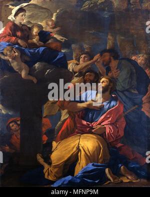 """Die Jungfrau erscheint St James das große """", c1690-1630. Französischen Barock Maler Nicolas Poussin (1594-1665). Öl auf Leinwand."""