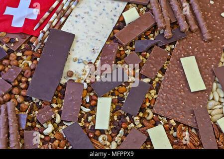 verschiedene Arten von Schokolade auf einen Blick - Stockfoto